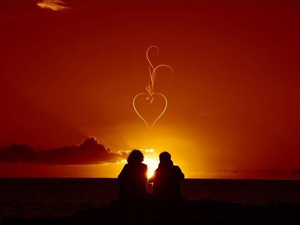 50 Love Couple Wallpapers 2017 2018: COEUR Couple Coucher Soleil